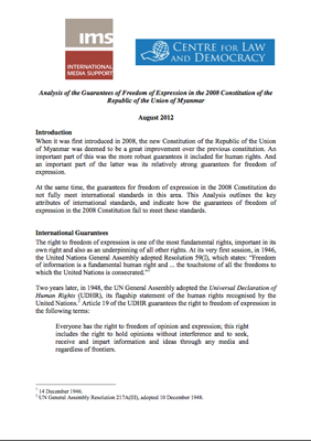 Analysis of Constitutional Guarantees in Myanmar