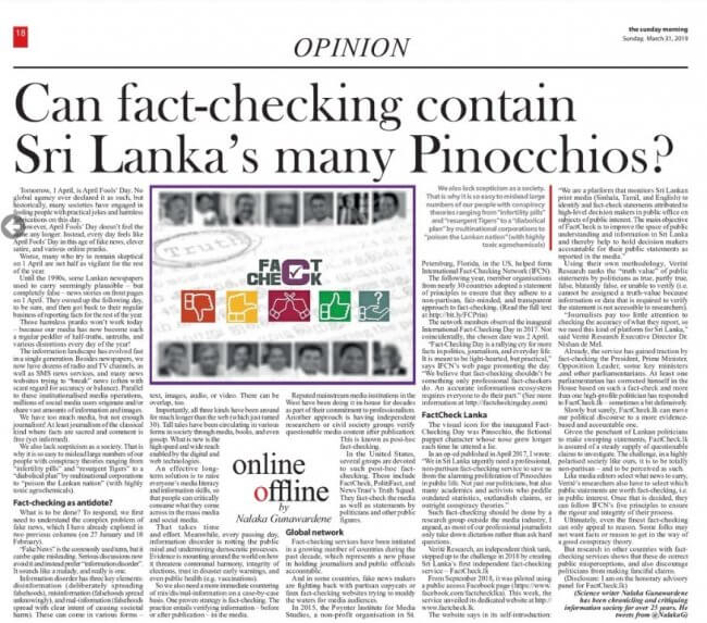 Can Fact-Checking contain  Sri Lanka's many Pinocchios?