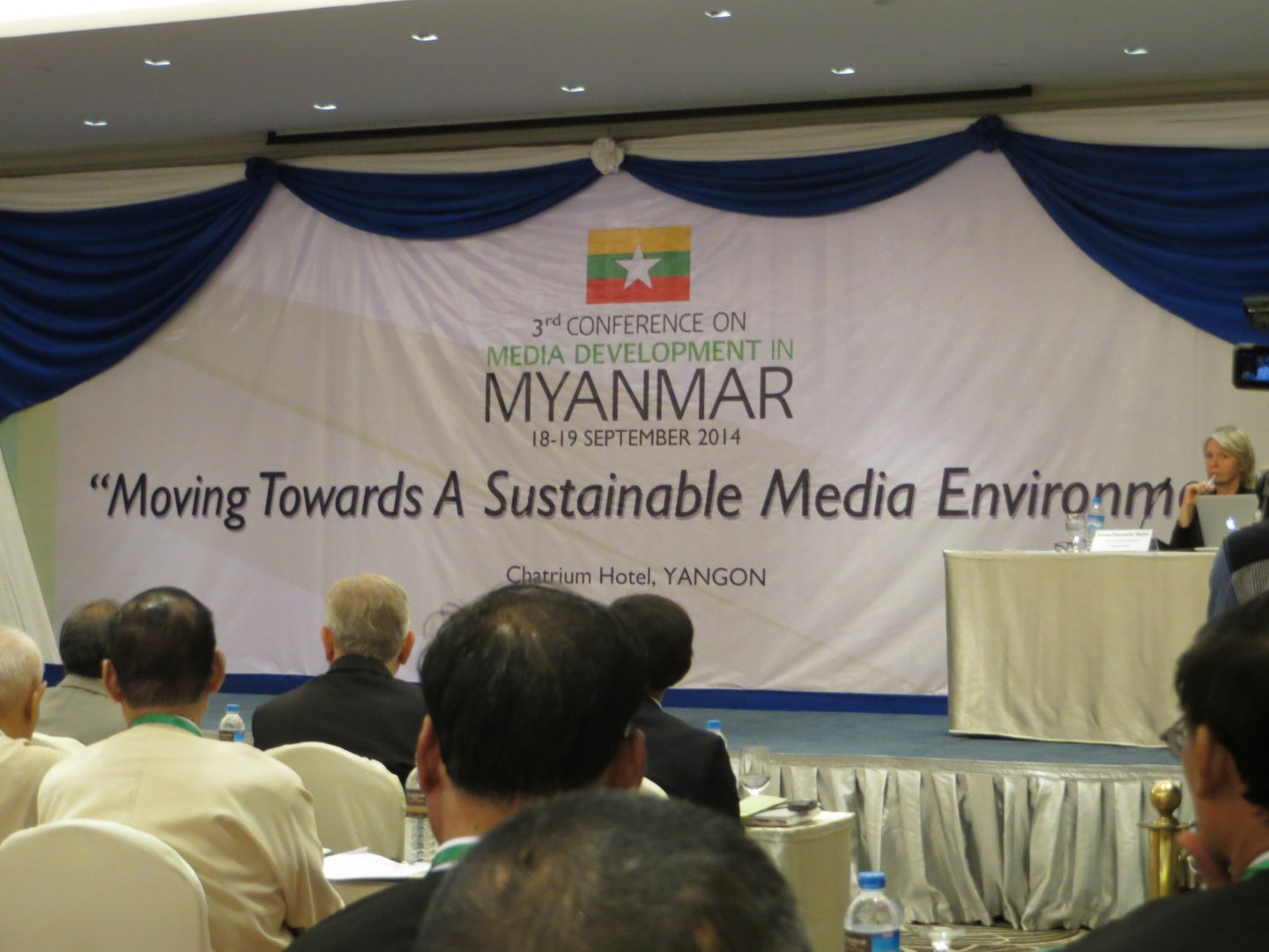 "Audience at a 2014 conference on media sustainability in Myanmar, ""Moving towards a sustainable media environment"""