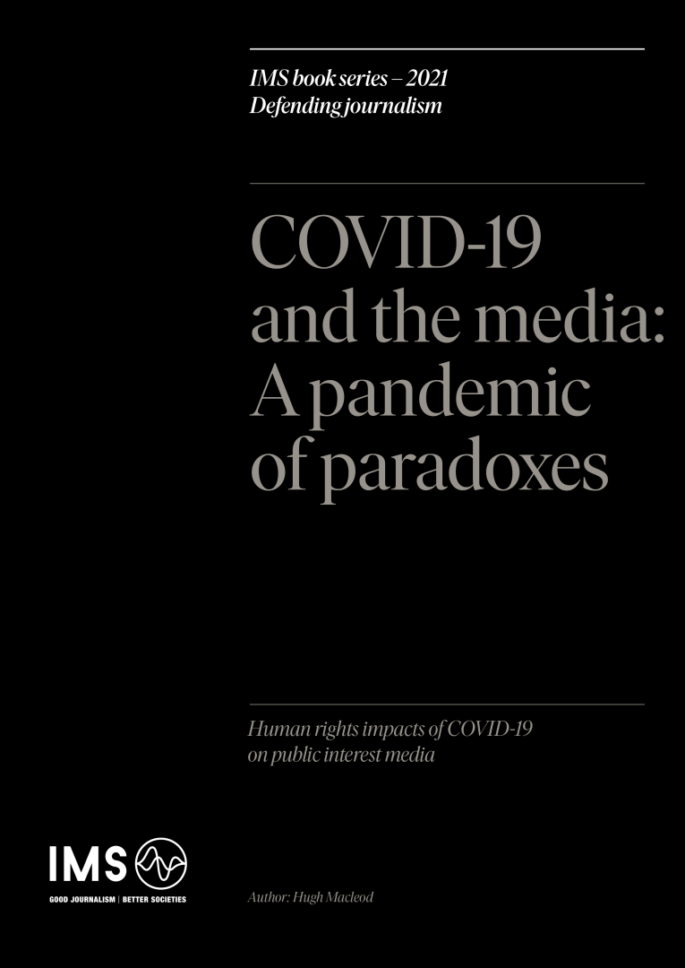 Front cover of the report Covid-19 and the media: A pandemic of paradoxes, white text on a black background