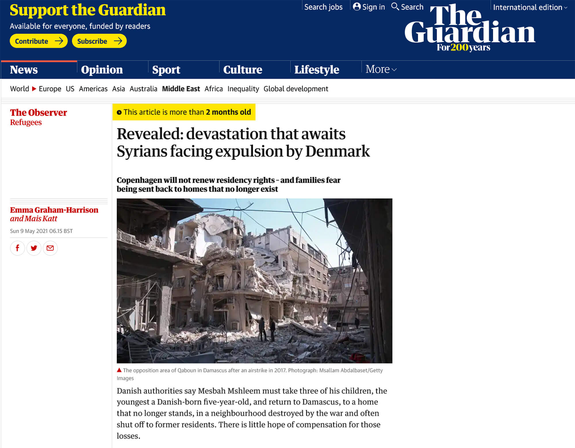 Screengrab from the Guardian: Revealed: devestation that awaits Syrians facing expulsion by Denmark
