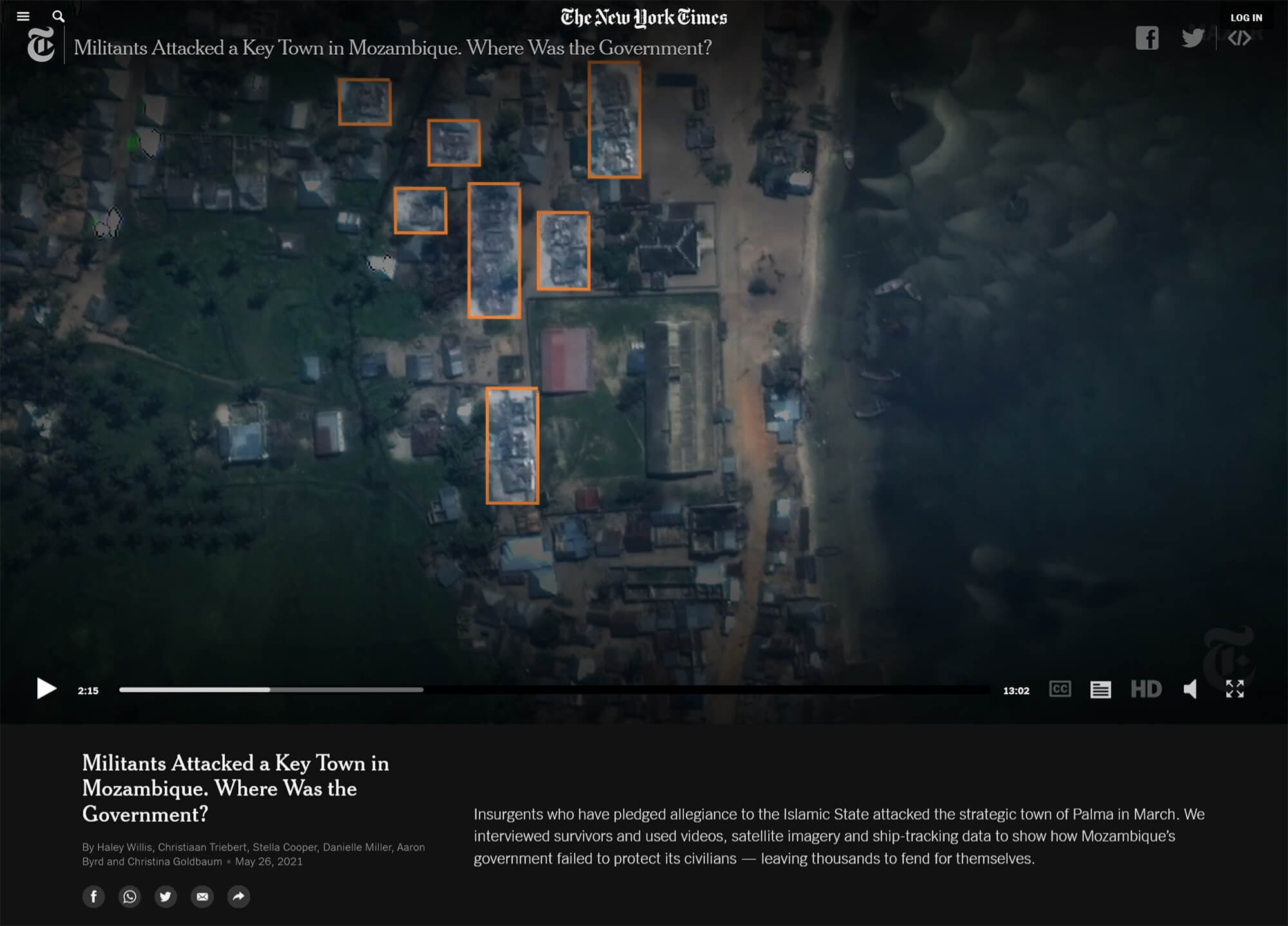 Screen grab of video from New York Times: Militants Attacked a Key Town in Mozambique. Where Was the Government?