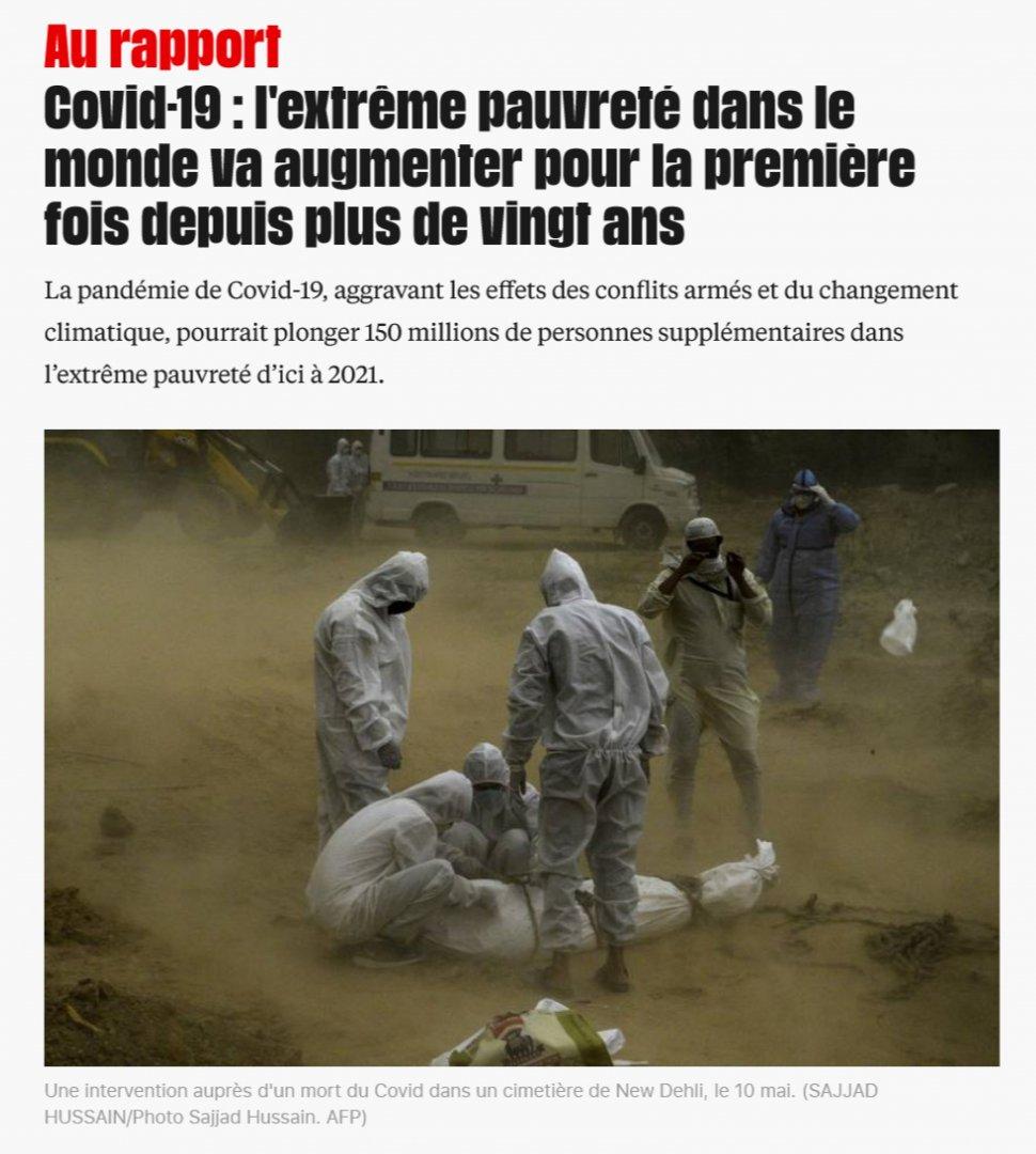 Article from Libération: l'extreme pauvreté le monde va augmenter pour la première fois depuis plus de vingt ans
